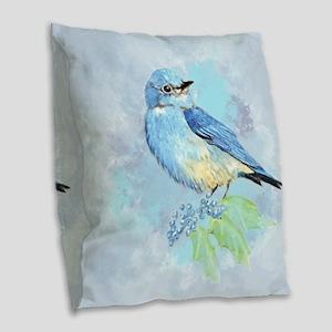 Watercolor Bluebird Blue Bird Art Burlap Throw Pil