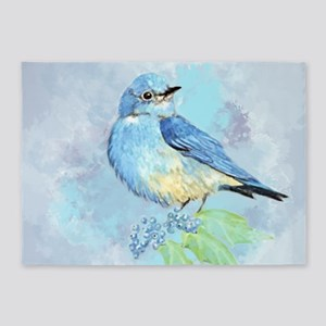 Watercolor Bluebird Blue Bird Art 5'x7'Area Rug