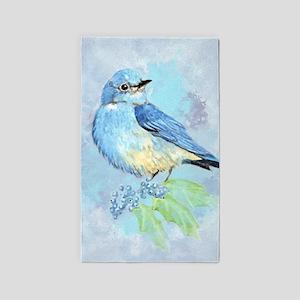 Watercolor Bluebird Blue Bird Art Area Rug