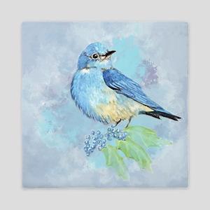 Watercolor Bluebird Blue Bird Art Queen Duvet