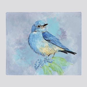 Watercolor Bluebird Blue Bird Art Throw Blanket