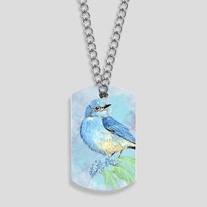 Watercolor Bluebird Blue Bird Art Dog Tags