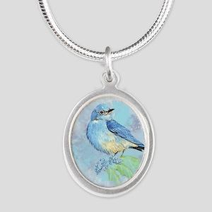 Watercolor Bluebird Blue Bird Art Necklaces