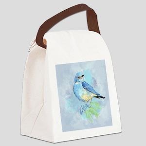 Watercolor Bluebird Blue Bird Art Canvas Lunch Bag