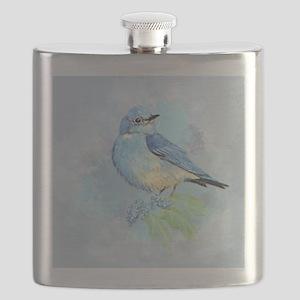 Watercolor Bluebird Blue Bird Art Flask