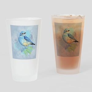 Watercolor Bluebird Blue Bird Art Drinking Glass