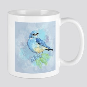 Watercolor Bluebird Blue Bird Art Mugs
