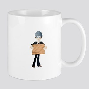 Young boy with wooden hording Mugs