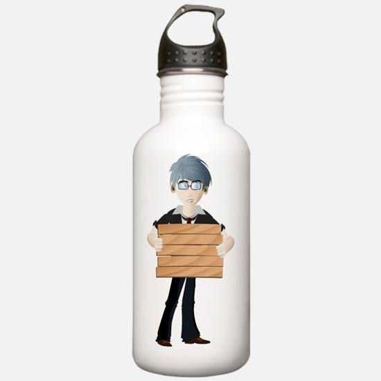 Young boy with wooden Water Bottle