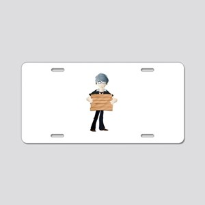 Young boy with wooden hordi Aluminum License Plate