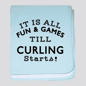 Curling Fun And Games Designs baby blanket