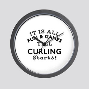 Curling Fun And Games Designs Wall Clock