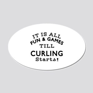 Curling Fun And Games Design 20x12 Oval Wall Decal