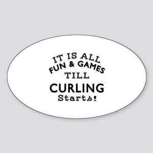 Curling Fun And Games Designs Sticker (Oval)