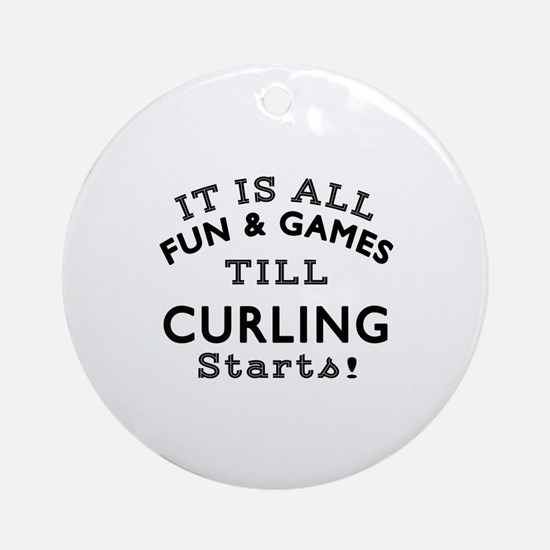Curling Fun And Games Designs Round Ornament