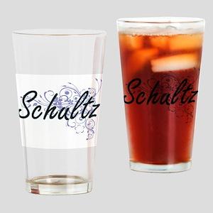 Schultz surname artistic design wit Drinking Glass