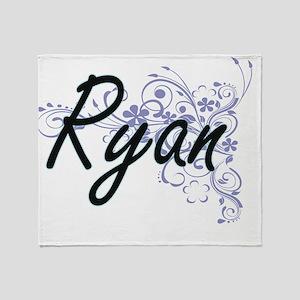 Ryan surname artistic design with Fl Throw Blanket