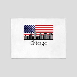 Chicago Illinois Cityscape 5'x7'Area Rug