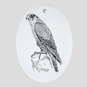 Peregrine falcon Oval Ornament