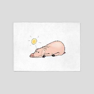 Pig Sunbathing 5'x7'Area Rug
