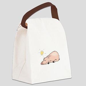 Pig Sunbathing Canvas Lunch Bag