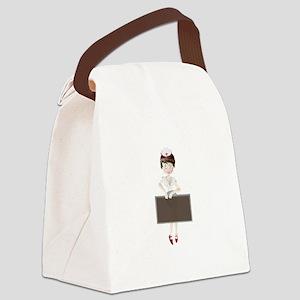 Nurse with black frame cartoon Canvas Lunch Bag