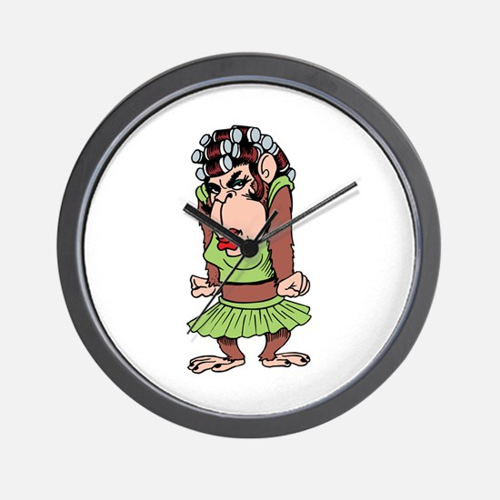 Lady Monkey in Curlers Wall Clock