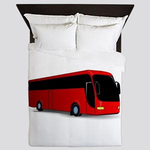 Red travel bus Queen Duvet