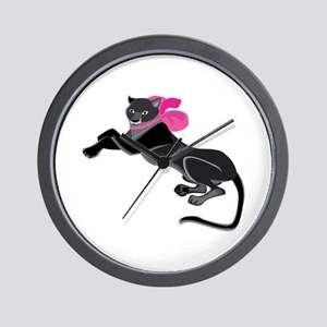 Panther Wearing Bow Wall Clock