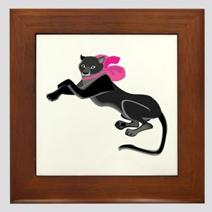 Panther Wearing Bow Framed Tile