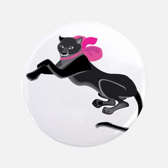 Panther Wearing Bow Button