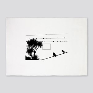 Birds silhouette on wire 5'x7'Area Rug