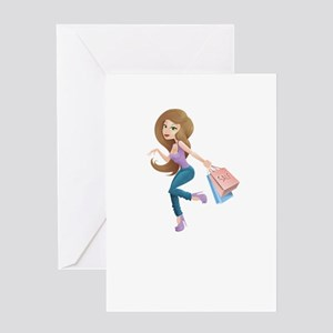 Cartoon Shopping Girl Character wit Greeting Cards