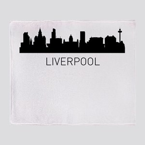 Liverpool England Cityscape Throw Blanket