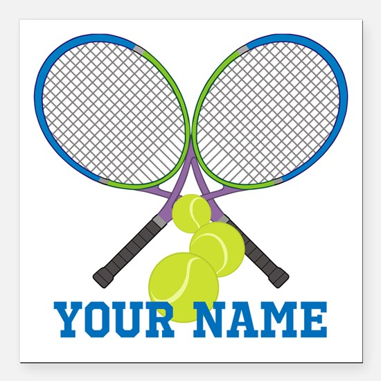 """Personalized Tennis Player Square Car Magnet 3"""" x"""