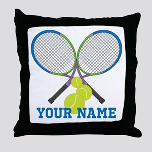 Personalized Tennis Player Throw Pillow