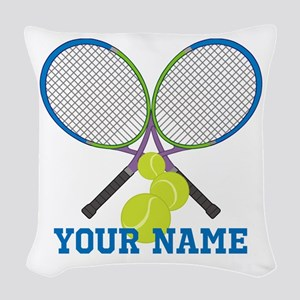 Personalized Tennis Player Woven Throw Pillow