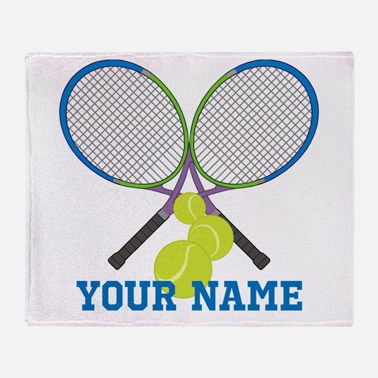 Personalized Tennis Player Throw Blanket