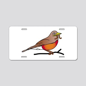 American Robin Food in Mout Aluminum License Plate