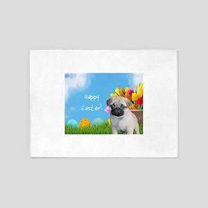 Happy Easter Pug Dog 5'x7'Area Rug