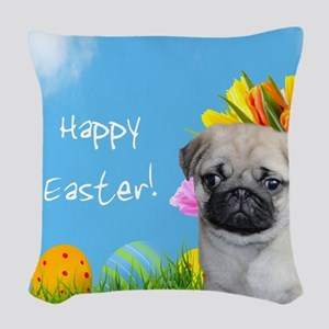 Happy Easter Pug Dog Woven Throw Pillow