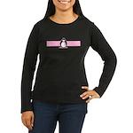 Pink Ribbon Penguin Women's Long Sleeve Dark T-Shi