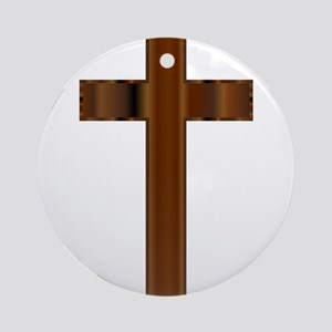 Wooden Christian Crucifix Round Ornament