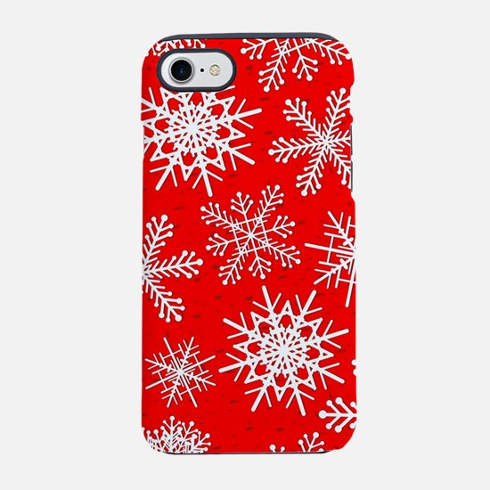 Snowflakes pattern in red iPhone 8/7 Tough Case