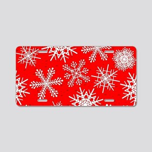 Snowflakes pattern in red Aluminum License Plate