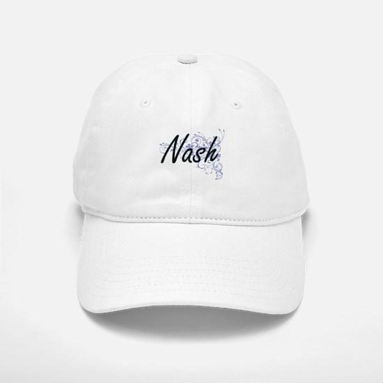 Nash surname artistic design with Flowers Baseball Baseball Cap