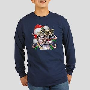 Dino Christmas Long Sleeve Dark T-Shirt