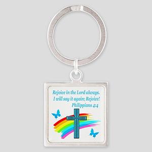 PHILIPPIANS 4:4 Square Keychain
