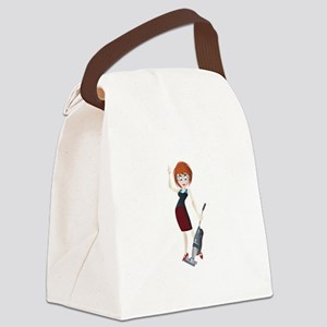 Young girl with vacuum cleaner Canvas Lunch Bag