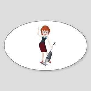 Young girl with vacuum cleaner Sticker